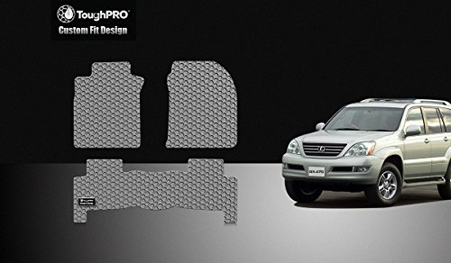 ToughPRO Floor Mats Set (Front Row + 2nd Row) Compatible with Lexus GX470 - All Weather - Heavy Duty - (Made in USA) - Gray Rubber - 2003, 2004, 2005, 2006, 2007, 2008, 2009