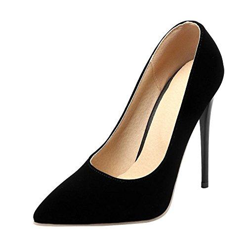 YE Damen Stiletto High Heels Lack Spitze Pumps mit 12cm Absatz Elegant Schuhe Schwarz(Nubuck)