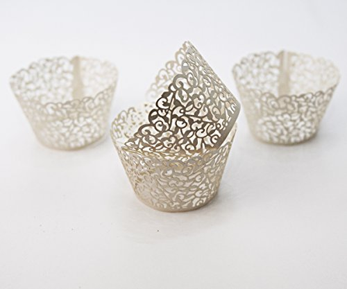 Cupcake Wrappers 10 pack to add a touch of elegance to any social gathering, make your dessert display the centerpiece of your event.Made of 200 g Ivory Pearl Paper, Great for Spring!