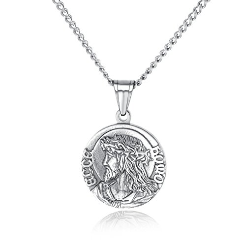 Christian Jesus Christ Serenity Prayer Necklace Stainless Steel Medal Medallion Necklace Silver Gold Tone