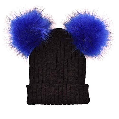 (Women Pompom Hat Winter Knitted Wool Cotton Two Pompoms Casual Bonnet)