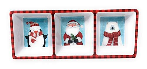 Holly Hill Penguin Santa and Polar Bear Melamine 3-Sectioned Serving Tray, -