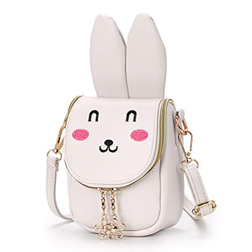 (Hipiwe Little Girl Purse Cute PU Leather Bunny Ears Purse Fashionable Kids Handbag Crossbody Bag Toddlers Shoulder Bags with Bowknot for Children (Beige)