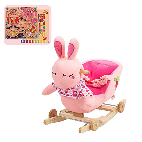 KARMAS PRODUCT Baby Kids Rocking Horse Toy Child Wooden Plush Rocking Horse Chair Rocker/Rabbit Animal Ride on, with Wheels/Music/Seat Belt (Rocking Traditional Horses Wooden)