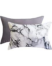 Romdale 2pcs White Boho Stripe Pillowsham Queen Size Without Filler Microfiber Reversible Aztec Geometric Bed Pillow Case 20x30