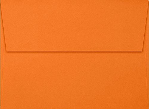 A7 Invitation Envelopes w/Peel and Press (5 1/4 x 7 1/4) - Mandarin Orange (50 Qty) | Perfect for Invitations, Announcements, Sending Cards, 5x7 Photos | Printable | 80 pound Paper | EX4880-11-50