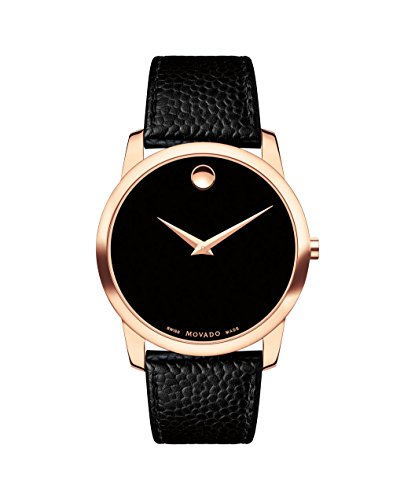 M0vado 2100012 Classic Museum Rose Gold Black Leather Strap Women Watch (Black Strap Museum Leather)