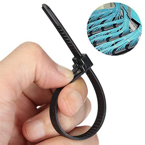 Releasable Bindings - 100Pcs Black Nylon Plastic Releasable Reusable Cable Tie Zip Wraps Ratchet Ties Wire 150X8mm/200X8mm/300X8mm for Binding Cable 200x8mm Black