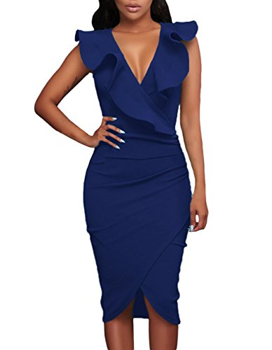 Ruched Mesh Gown (made2envy Ruffle V Neck Bodycon Midi Dress (M, Blue) LC61474MBL)