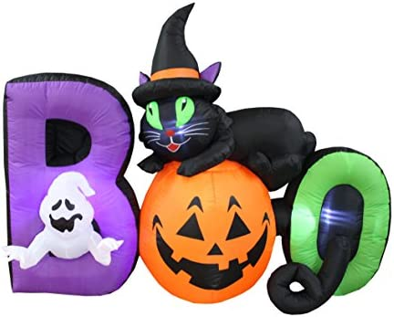 BZB Goods 9 Foot Long Lighted Halloween Inflatable Black Cat Ghost Pumpkin  Boo LED Lights Decor Outdoor Indoor Holiday Decorations, Blow up Lighted
