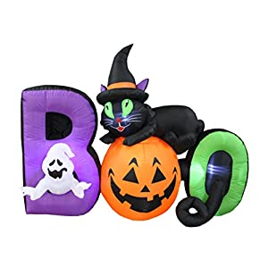BZB Goods 6 Foot Long Lighted Halloween Inflatable Black Cat Ghost Pumpkin Boo LED Lights Decor Outdoor Indoor Holiday…
