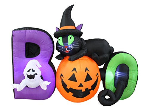 BZB Goods 6 Foot Long Lighted Halloween Inflatable Black Cat Ghost Pumpkin Boo LED Lights Decor Outdoor Indoor Holiday Decorations, Blow up Lighted Yard Decor Lawn Inflatables Home Family Outside -
