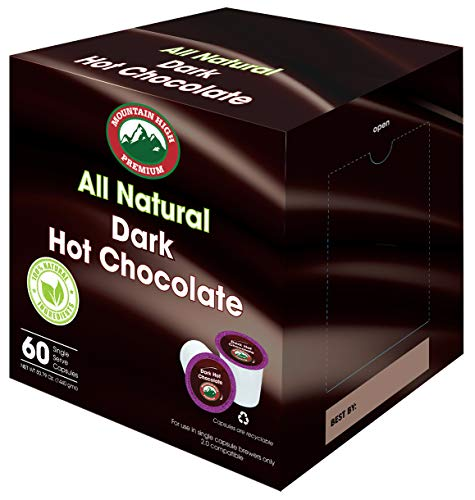 Mountain High All Natural Hot Chocolate K Cups 2.0 Compatible (Dark Chocolate, 60) (Best K Cup Hot Chocolate)