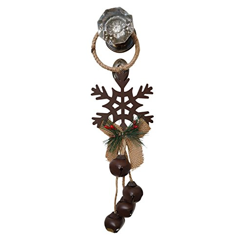 14 Inch Rustic Metal and Burlap Holiday Door Knob Hanger with 4 Jingle Bells (Snowflake) by Sterling