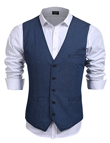 COOFANDYMen's Denim Suits Vest V- Neck Slim Fit Single-Breasted Waistcoat, Blue, Medium (Chest 43.3)
