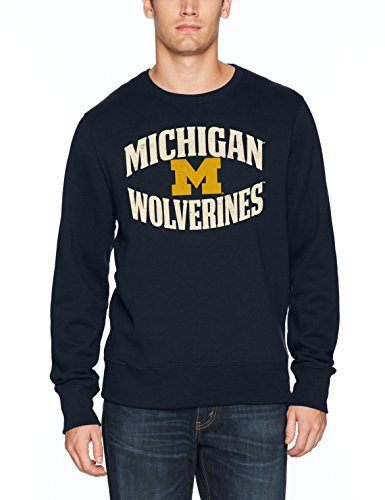 NCAA Michigan Wolverines Men's OTS Fleece Crew, Distressed Marbleton, X-Large