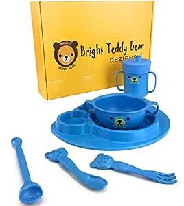 Juego de vajilla de 7 piezas para bebés de Bright Teddy Bear ...