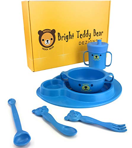 BRIGHT TEDDY BEAR Infant Dinnerware Set-Toddlers Divided Plate, Bowl, Sippy Cup, with Lid Toddler Self Feeding Utensils, Spoon, Fork, Weaning Spoon 7 Piece Microwave & Dishwasher Safe