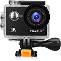 CRAPHY W9SE Action Camera 4K WiFi Ultra HD Waterproof Sport Camera Kit 2 Inch LCD Screen 140 Degree Wide Angle 12MP with Rechargeable Batteries, Black