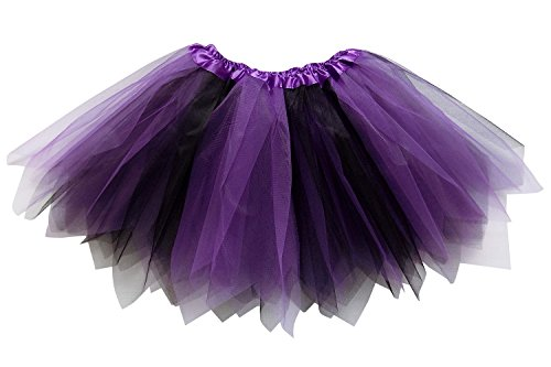 So Sydney Adult Plus Kids Size PIXIE FAIRY TUTU SKIRT Halloween Costume Dress Up (L (Adult Size), Purple & Black) (Black And Purple Tutu Skirt)