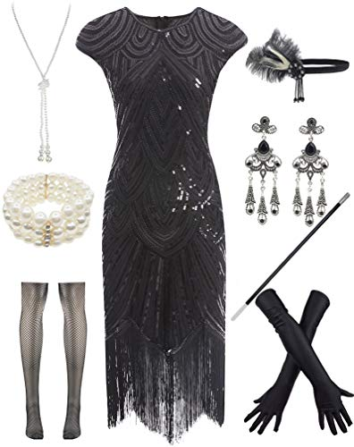 Sexy Fringed Flapper Dress - Women 1920s Vintage Flapper Fringe Beaded Gatsby Party Dress with 20s Accessories Set Black