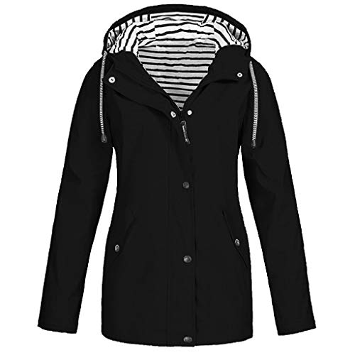 Solid Waterproof Jacket for Women Outdoor Plus Size Hooded Windproof Raincoat Winter Coat Windbreaker Overcoat