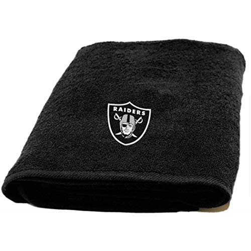 1 Piece NFL Raiders Bath Towel 25 X 50 Inches, Football Themed Applique Shower Towel Sports Patterned, Team Logo Fan Merchandise Athletic Spirit, Black, Silver, - Applique Nfl Raiders