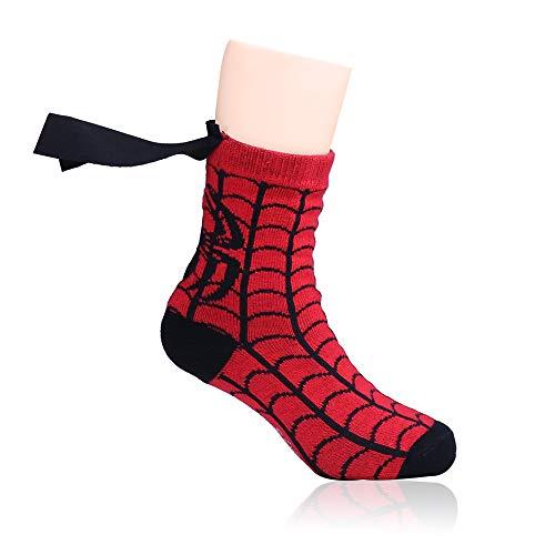 Lintat Superhero Batman Superman The Flash Youth Boys Caped Crew Socks ONE PAIR (Spider-Man)