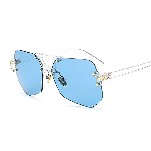 Sol Sin Gafas blue clear Rosa Para De Irregular TIANLIANG04 Marco Hombre Sol Amarillo Transparente Gafas De Transparente Reborde TxqvEC0