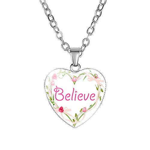 - Love/Believe/Hope/Faith/Dream/Theme Art Letter Glass Cabochon Heart Shaped Pendant Vintage Rose Garland Flower Necklace for Women Girls Quote Jewelry Gifts