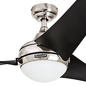 "Honeywell Ceiling Fans 50195 Rio 54"" Ceiling Fan with Integrated Light Kit and Remote Control, Brushed Nickel"