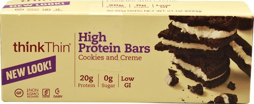 Think Products thinkThin® High Protein Bar Cookies & Creme -- 10 Bars