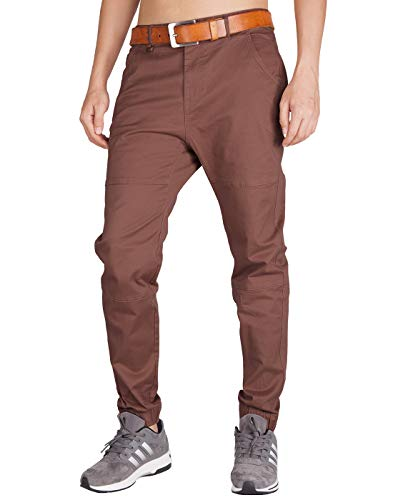 ITALY MORN Men's Chino Jogger Pants Slim Fit Elastic Cuff (30, Red - Cuff Elastic Mens