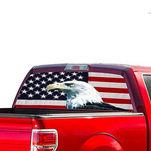 Rear Window Graphic Kit - Gold Fish Decals Rear Window Perforated See Thru Graphic Eagle Flag 2 Decal Sticker Compatible with Ford F150