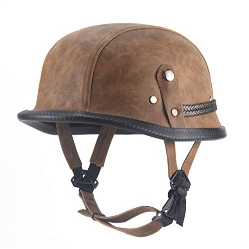 German Retro Style Open Face Half Leather Helmet Vintage Motorcycle Motorbike Camouflage Brown Voss ()