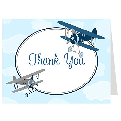 Airplane Thank You Cards Baby Shower Birthday Little Pilot Baby Boy Vintage Fly Retro Up Up and Away Navy Blue Biplane Folding Thank You Notes Thanks (50 count)