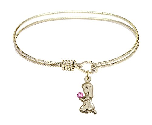 Praying Girl-6 1/4 inch Oval Eye Hook Bangle Bracelet with a Praying Girl charm.-The charm features a Imitation Rose stone.- - Praying Girl Charm