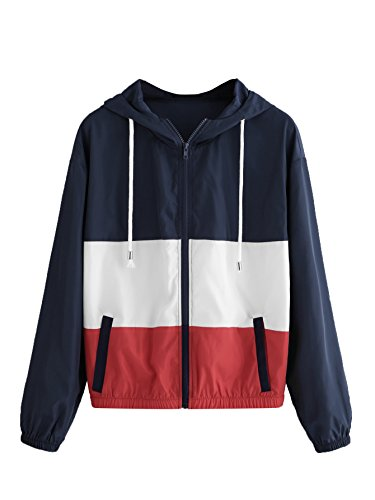 Floerns Women's Color Block Hooded Casual Thin Windbreaker jacket White and Blue XS