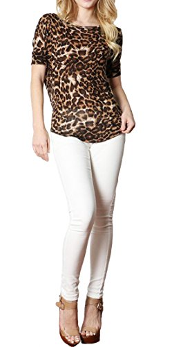 Simply Savvy Co Soft Stylish Comfort Fit Leopard Animal Print Top (Large, Brown)