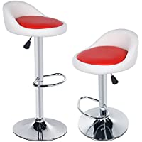 Kaluo 2pcs Swivel Bar Stools Synthetic Leather Adjustable Rotating Height Bar Chairs (color 3)