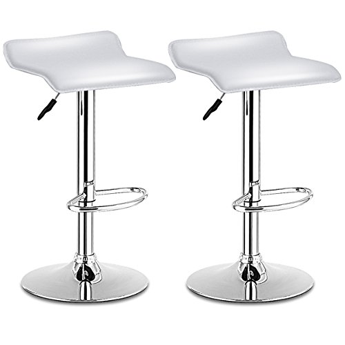 (COSTWAY Swivel Bar Stools Adjustable Contemporary Modern Design Chrome Hydraulic PU Leather Backless Dining Chairs Set of 2(White) )