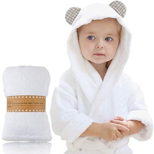 (Channing & Yates - Premium Baby Robe - Toddler Robe - Organic Bamboo Hooded Bathrobe Towel - Thick & Soft - Toddler Essentials - Boutique Quality Baby Shower Gift (Beige Gingham))