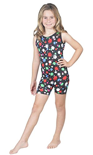 Delicate Illusions Girls Gymnastics Sleeveless Tank Biketard Unitard Shortall Outfit Apparel XL (10-11 yrs) - Jersey Sleeveless Lined