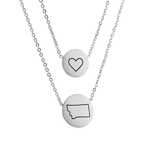 State Pendant Necklace Montana MT - Heart Disc Double Chain Stainless Steel (Montana Pendant)