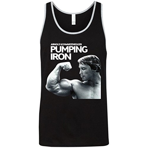 CRAZYBODIES Pumping Iron Men's Stringer Bodybuilding Fitness Muscle Workout Gym Tank Tops (X-Large, Black/Athletic Heather) - Iron Works T-shirt