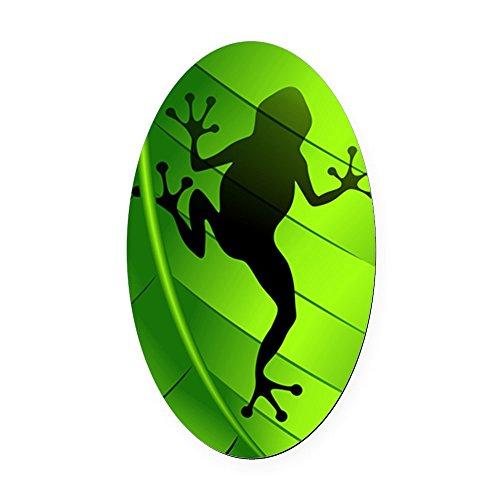 CafePress - Frog Shape on Green Leaf Oval Car Magnet - Oval Car Magnet, Euro Oval Magnetic Bumper Sticker ()