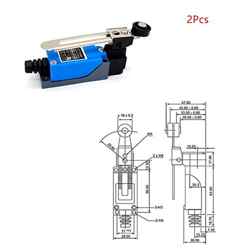(Sean 2pcs - 8108 Rotary Plastic Variable Roller Arm Instantaneous Limit Switch NC - NO AC / 250 V 5 A, DC 115 V 0.4 A)