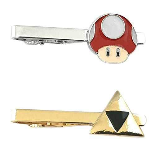 Outlander Video Games - Super Mario 1-UP & Legend of Zelda Hyrule - Tiebar Tie Clasp Set of 2 Wedding Superhero Logo w/Gift Box by Outlander
