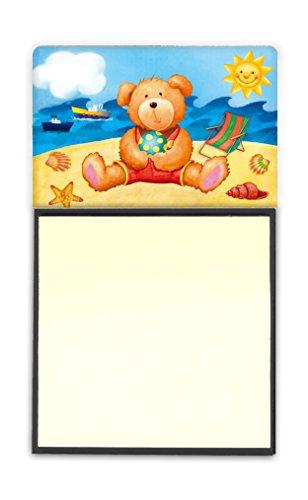 Treasures Teddy Bear - Caroline's Treasures Teddy Bear on the Beach Sticky Note Holder, Multicolor (APH0088SN)