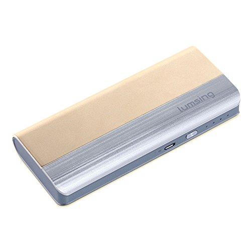 Lumsing Batería externa (Power Bank) 16000mAh, Batería portátil ultra delgada, Energía móvil, 2 puertos de Cargador 5V/1A,5V/2.1A para Smartphones (Teléfonos inteligentes) iPhone 6s / 5s , iPad, iPod, Samsung, Tablet PC, HTC, MP3, MP4, PSP, GoPro, GPS y otros dispositivos USB (Color oro)